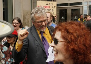 David Oaks, in action at one of many protests he has attended over a 30 year career of compassionate activism.